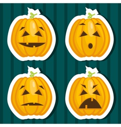 Halloween pumpkin stickers vector image