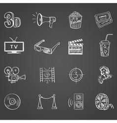 Hand drawn cinema icon set vector
