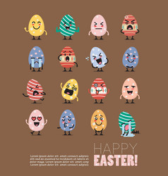 happy easter with egg character set vector image vector image