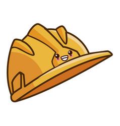 hardhat worker helmet kawaii cartoon vector image