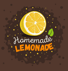 homemade lemonade design with sliced lemon and vector image vector image