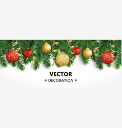 horizontal christmas banner with fir tree garland vector image
