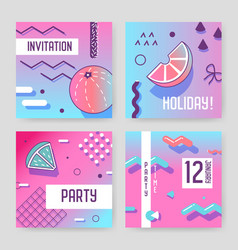 invitation cards in geometric trendy memphis style vector image