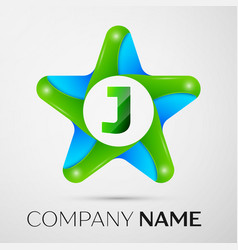 letter j logo symbol in the colorful star on grey vector image vector image