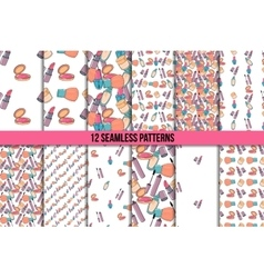 Makeup seamless pattern set vector image
