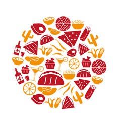 Mexican food theme set of simple icons in circle vector
