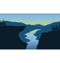 Scenery river in cliff vector image