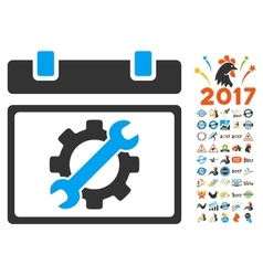 Service day icon with 2017 year bonus pictograms vector