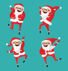 set with lovely dancing santa claus hand drawn in vector image vector image
