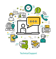 technical support - line round concept vector image vector image