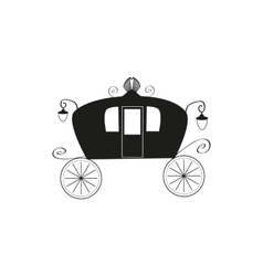 The black silhouette of a vintage carriage on an vector