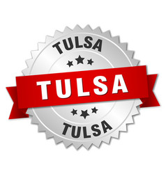 Tulsa round silver badge with red ribbon vector