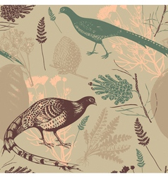 Vintage Bird Wilderness Pattern vector image vector image