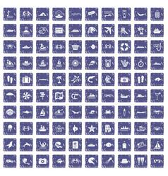 100 sea life icons set grunge sapphire vector