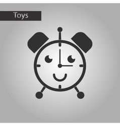Black and white style toy alarm clock vector