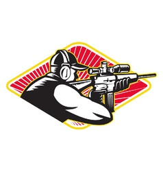 Hunter shooter aiming rifle retro vector