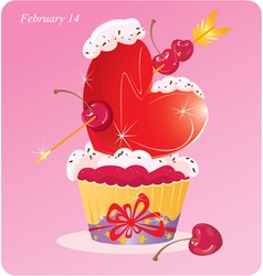 Cute cupcake with heart vector