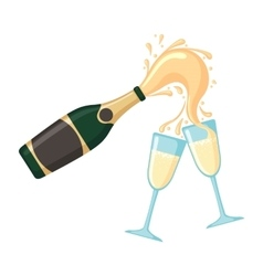 Bottle of champagne with glasses vector