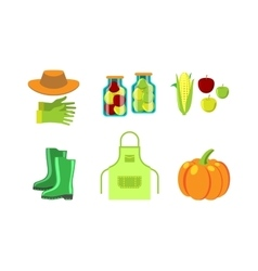 Conservation food and gardening tools vector