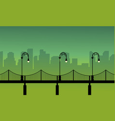 Silhouette of street lamp woth bridge landscape vector