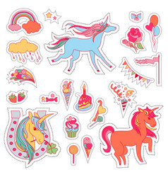 Color fun stickers with unicorn cloud cake vector