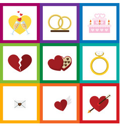 Flat icon amour set of engagement patisserie vector
