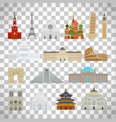 Monuments flat icons on transparent background vector