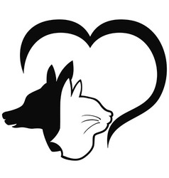 Dog and cat with heart vector image