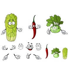 Pepper radish and cabbage cartoon vegetables vector