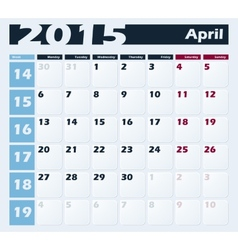 Calendar 2015 april design template vector