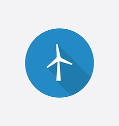 Wind mill flat blue simple icon with long shadow vector