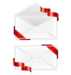 Two envelopes with ribbon vector