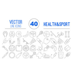 40 outline icons of healthy food and sport vector image vector image
