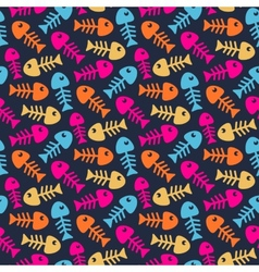 Bright fish bones pattern vector