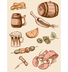 set of vintage beer icons vector image
