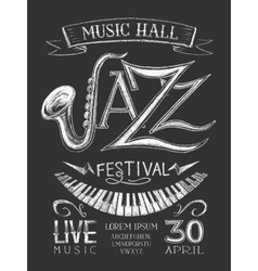 Poster jazz festival on the blackboard vector