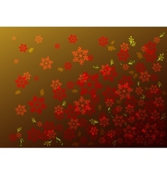 Red flowers on a golden base eps10 vector