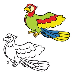 Cartoon parrot on a white background vector