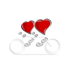 Love hearts on bicycle vector