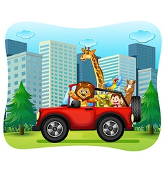 Wild animals riding on red jeep vector
