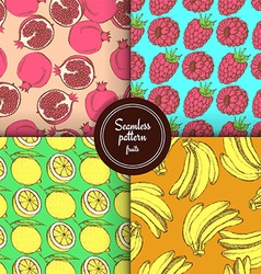 Sketch set of fruits patterns vector