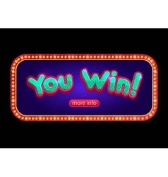 You win banner for online casino poker roulette vector