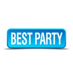 best party blue 3d realistic square isolated vector image
