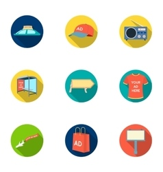 Advertising set icons in flat style big vector
