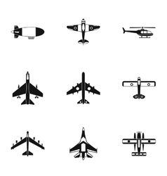 Army planes icons set simple style vector