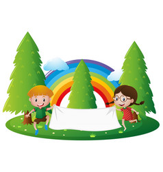 Banner template with boy and girl in park vector