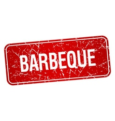 barbeque red square grunge textured isolated stamp vector image vector image