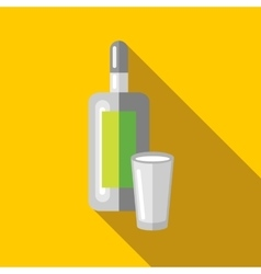 Bottle of vodka and wineglass icon flat style vector