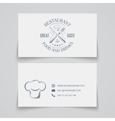 Business card template with logo for restaurant vector image vector image