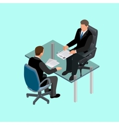 Business people in suit sitting at the table vector image vector image